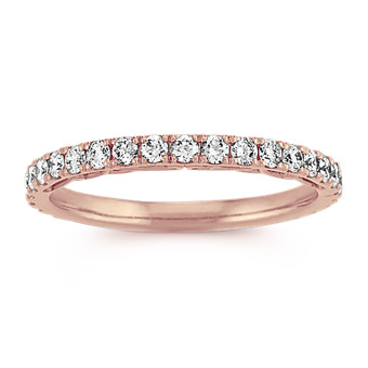 Vintage Pave-Set Diamond Wedding Band in 14k Rose Gold
