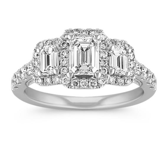 ½ ct. Emerald Cut Center Diamond, Vintage Three-Stone Ring
