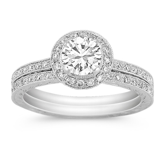 ¾ ct. Round Center Diamond, Halo Vintage Wedding Set
