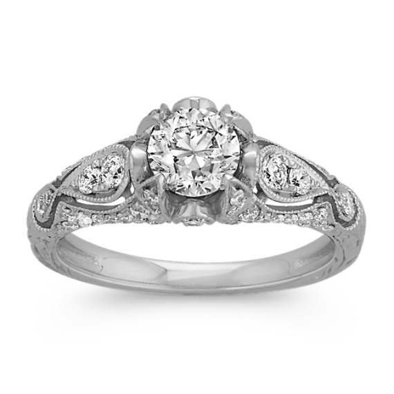 ¾ ct. Round Center Diamond, Vintage Engagement Ring with Engraving