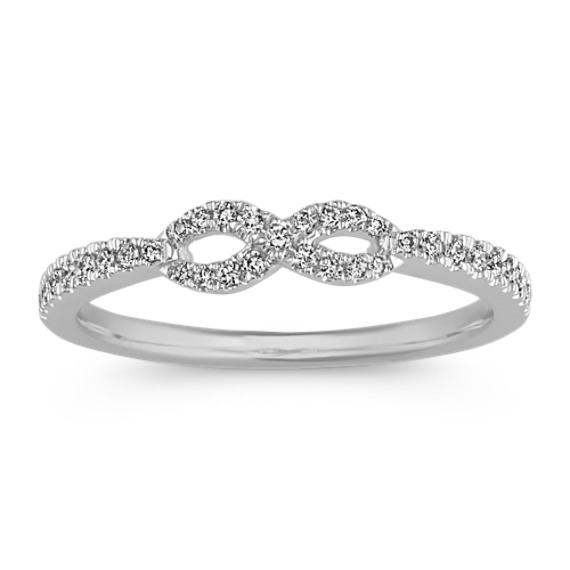 Infinity Diamond Ring in 14k White Gold