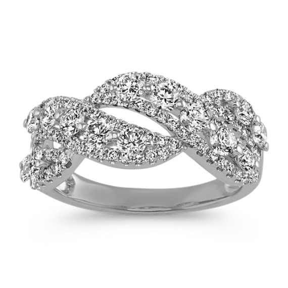 Twist Diamond Ring in 14k White Gold
