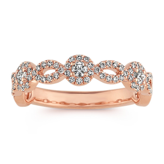 Diamond Halo Stackable Ring in 14k Rose Gold