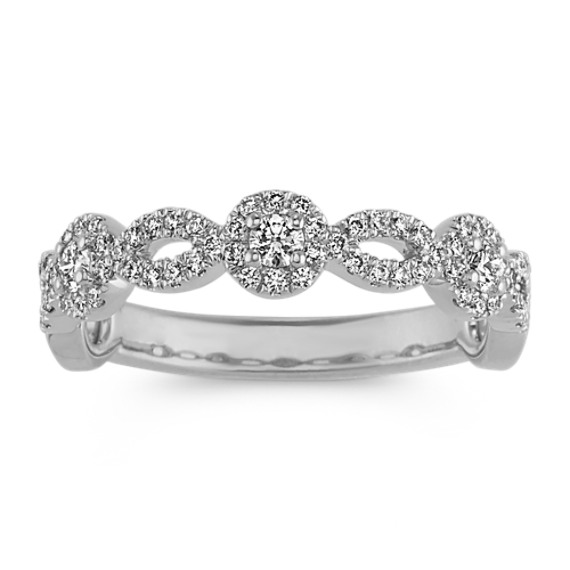 Diamond Halo Stackable Ring in 14k White Gold