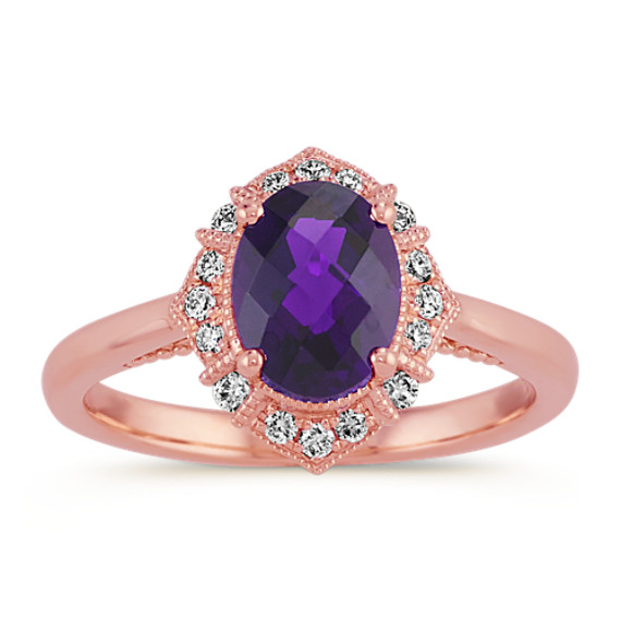 Vintage Checkerboard Cut Amethyst and Diamond Ring