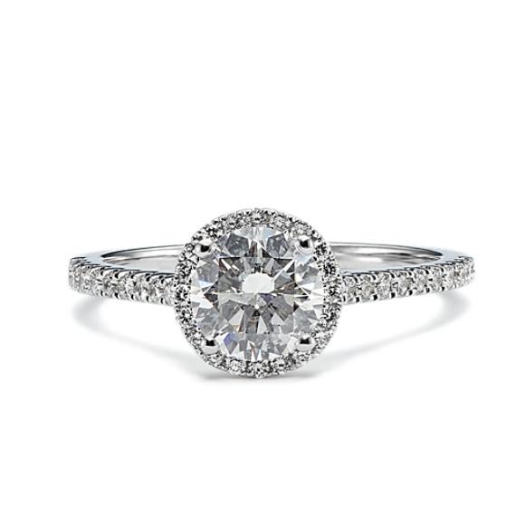 1 ct. Round Center Diamond, Halo Engagement Ring