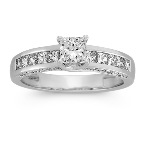 1/2 ct. Princess Cut Center Diamond, Engagement Ring