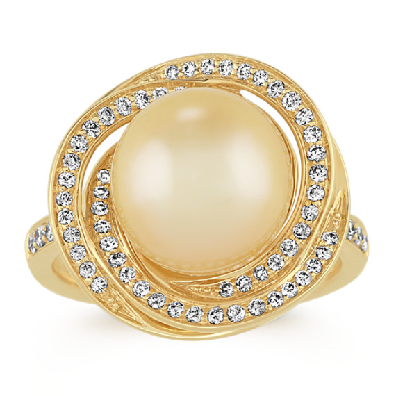 10mm Golden South Sea Pearl and Diamond Ring