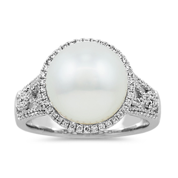 11-12mm South Sea Pearl and Diamond Halo Ring
