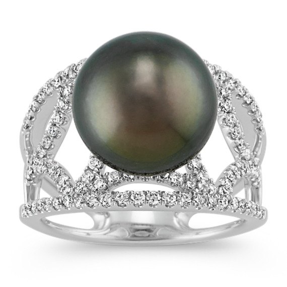 11mm Cultured Tahitian Pearl and Diamond Ring in 14k White Gold