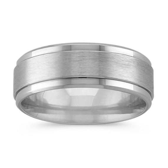 14K White Gold Comfort Fit Wedding Band with Textured Center Band (8mm)