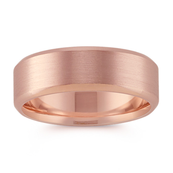 14k Rose Gold Classic Comfort Fit Band with Brushed Finish (7mm)