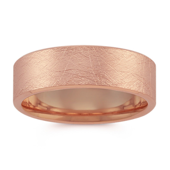 14k Rose Gold Comfort Fit Ring with Brushed Finish (7mm)