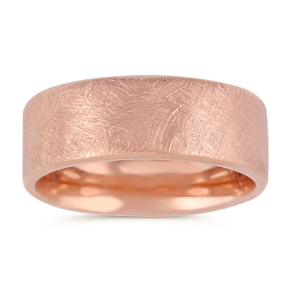 14k Rose Gold Comfort Fit Textured Ring (8mm)