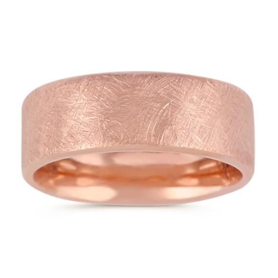 14k Rose Gold Comfort Fit Textured Ring (8mm)