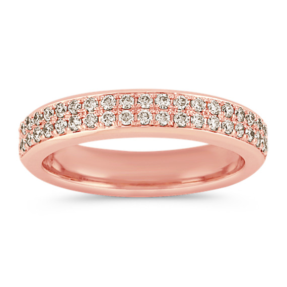14k Rose Gold Double Row Round Diamond Band