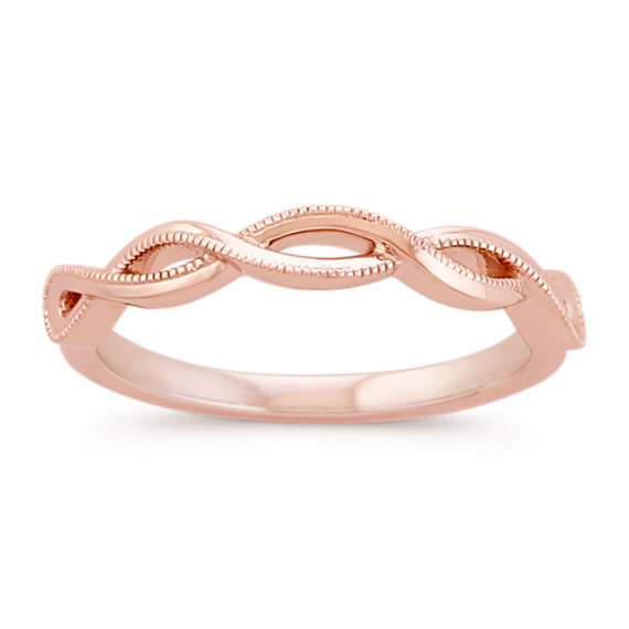 14k Rose Gold Infinity Swirl Wedding Band with Milgrain Detailing
