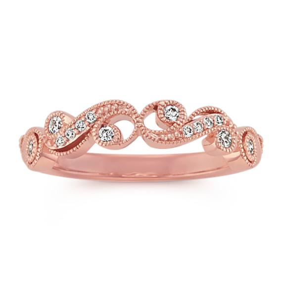 14k Rose Gold Round Diamond Vintage Ring