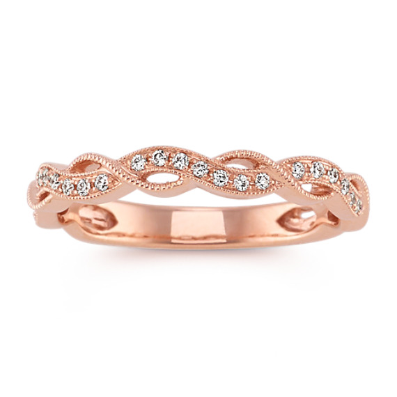 14k Rose Gold Round Diamond Vintage Wedding Band