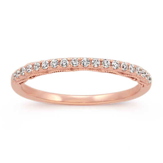 14k Rose Gold Vintage Diamond Wedding Band