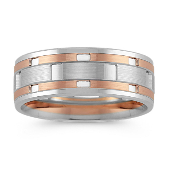 14k Rose and White Gold Engraved Comfort Fit Ring (8mm)
