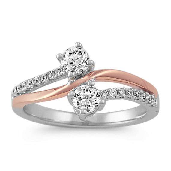 14k Rose and White Gold Round Diamond Two-Stone Ring