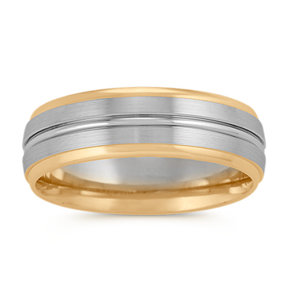 14k Two-Tone Comfort Fit Mens Ring (7mm)