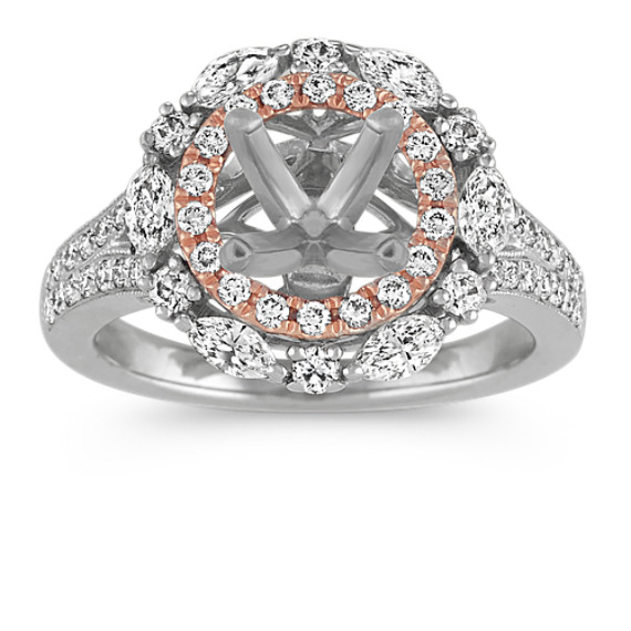 14k Two-Tone Double-Halo Diamond Engagement Ring