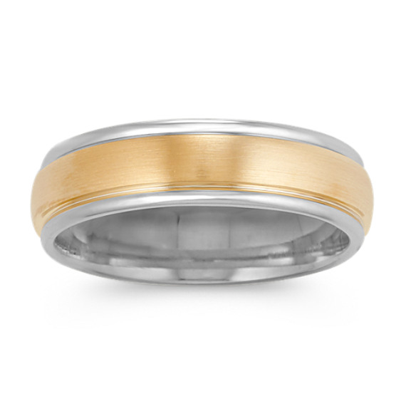 14k Two-Tone Gold Comfort Fit Ring with Satin Finish (6mm)