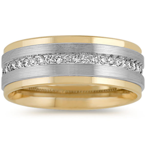 14k Two-Tone Gold Diamond Men?s Band (8mm)