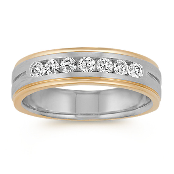 14k Two-Tone Gold Diamond Ring with Satin Finish (6mm)
