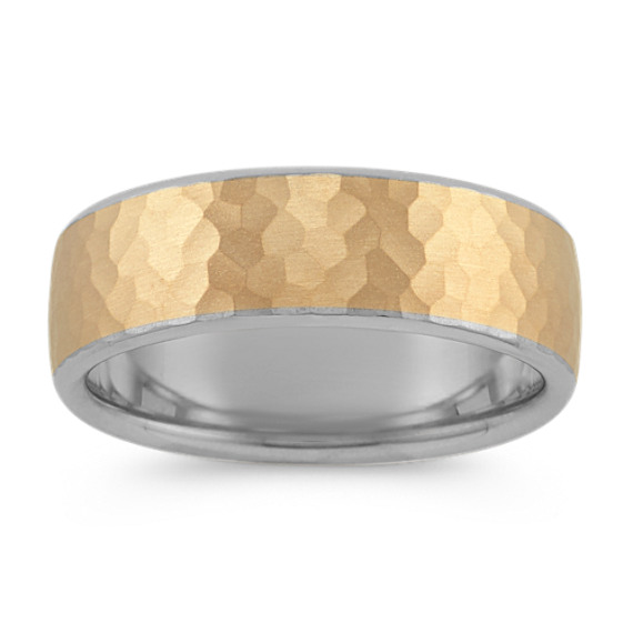 14k Two-Tone Gold Ring with Hammered Finish (7.5mm)