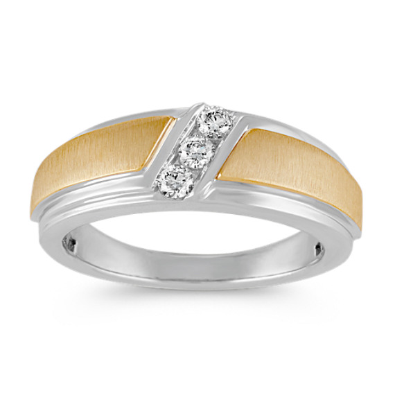 14k Two-Tone Three-Stone Diamond Mens Ring (8mm)