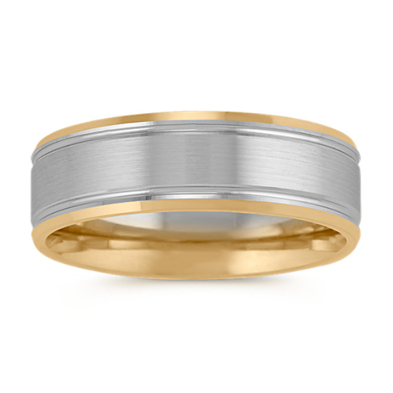 14k Two-Tone Wedding Band with Satin Finish (7mm)