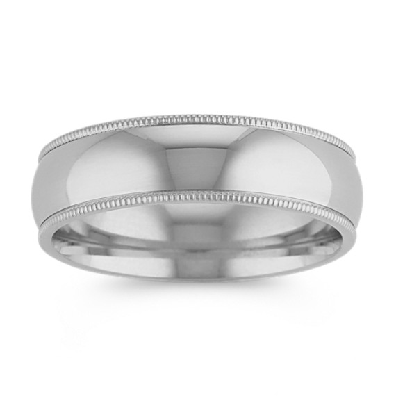 14k White Gold Classic Milgrain Detailed Band (6mm)