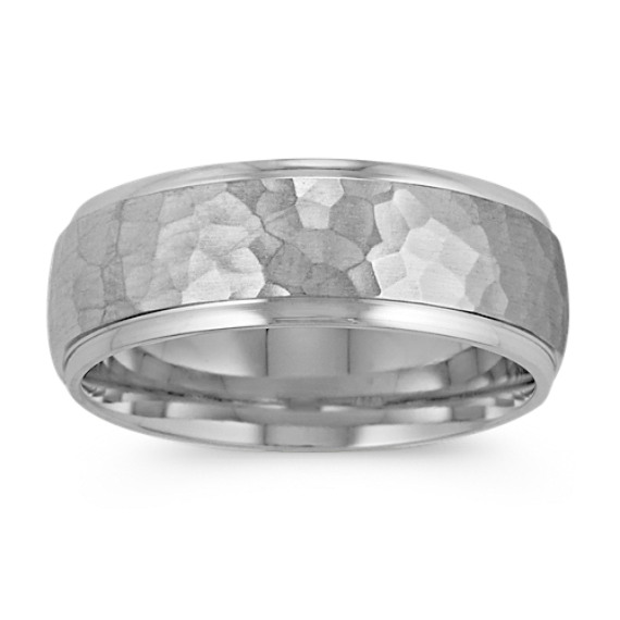 14k White Gold Comfort Fit Mens Band With Hammered Finish 8mm
