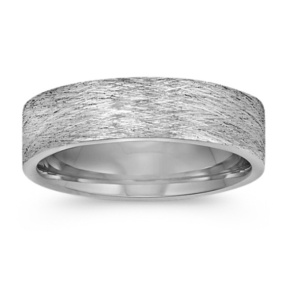 14k White Gold Comfort Fit Ring with Brushed Finish (6mm)