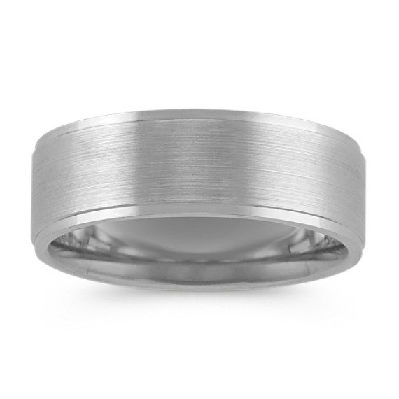 14k White Gold Comfort Fit Ring with Brushed Finish (7.5mm)
