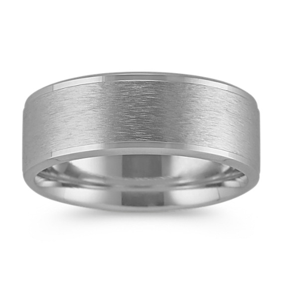 14k White Gold Comfort Fit Ring with Brushed Finish (8mm)