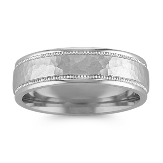 14k White Gold Comfort Fit Ring with Hammer Finish (6mm)