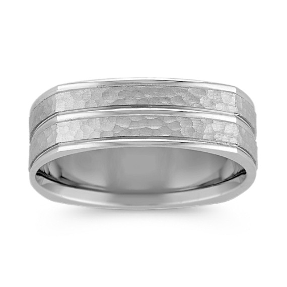 14k White Gold Comfort Fit Ring with Hammered Finish (7mm)
