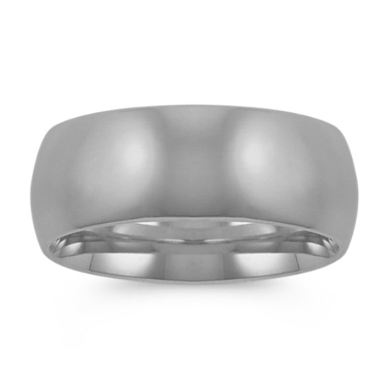 14k White Gold Comfort Fit Wedding Band (8mm)