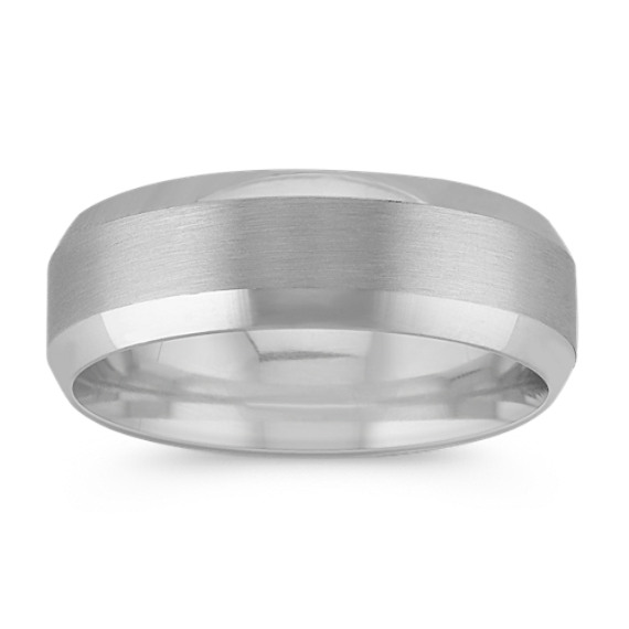 14k White Gold Comfort Fit Wedding Band with Satin Finish (7mm)