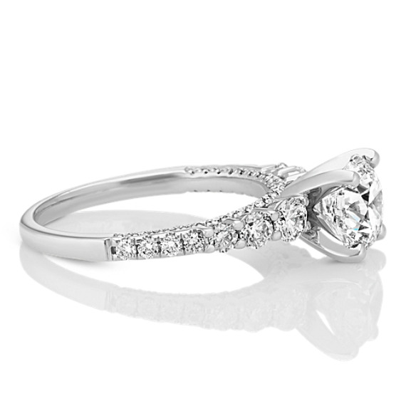 0073692113294 14k White Gold Engagement Ring with Pave-Setting