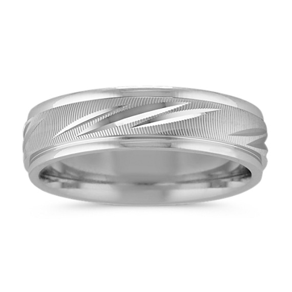 14k White Gold Engraved Band (6mm)