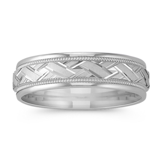 14k White Gold Engraved Crisscross Wedding Band (6mm)