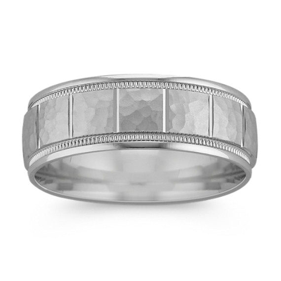 14k White Gold Engraved Ring with Hammered Finish (7mm)