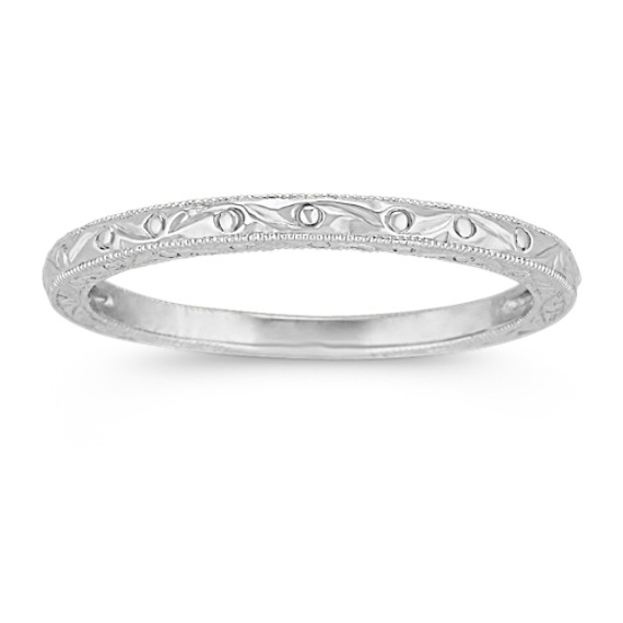 14k white gold engraved wedding band shane co