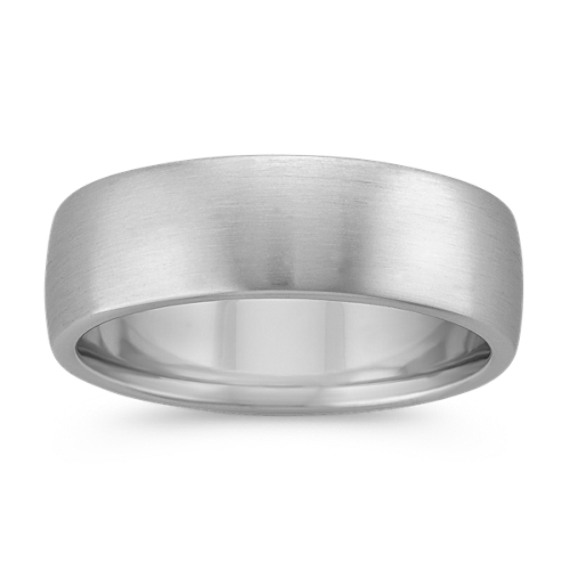 14k White Gold Euro Comfort Fit Ring with Satin Finish (7.5mm)