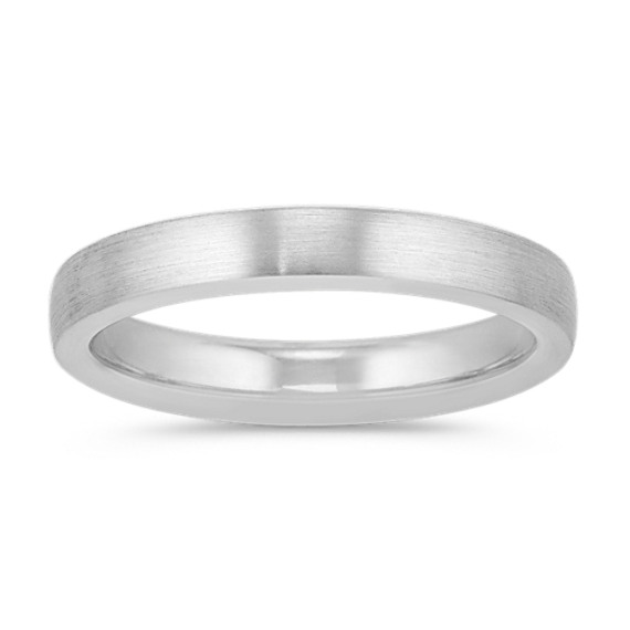14k White Gold Euro Comfort Fit Wedding Band with Satin Finish (3.5mm)